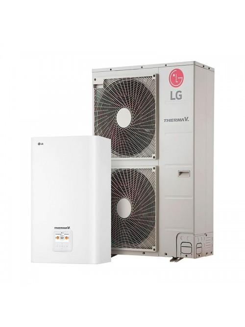 Air-to-Water Heat Pump Systems Heating and Cooling Bibloc LG Therma V Split Mural R-410A HN1636M.NK5 + HU163MA.U33