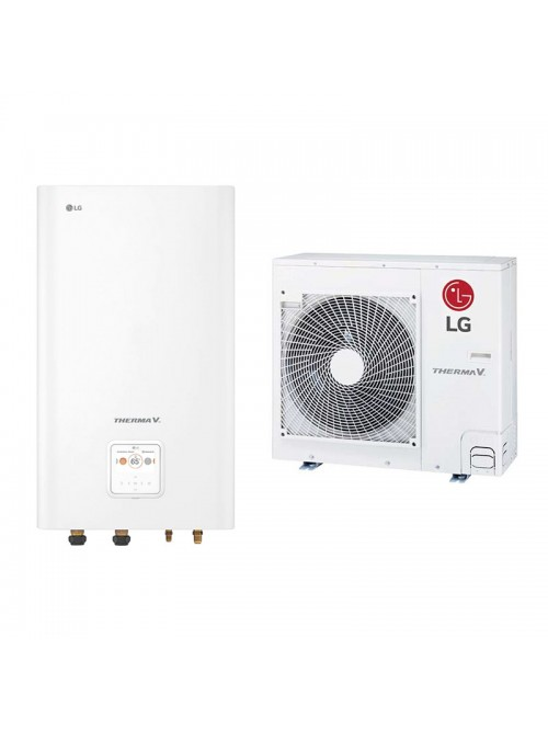 Air-to-Water Heat Pump Systems Heating and Cooling Bibloc LG Therma V Split HN091MR.NK5 + HU051MR.U44